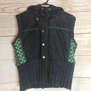 Free People jacket vest with knit Hood large l